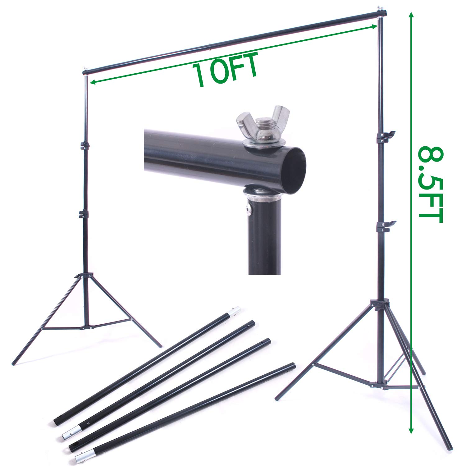 NiuBea Studio 10Ft Adjustable Background Stand Backdrop Support System for Photo Video