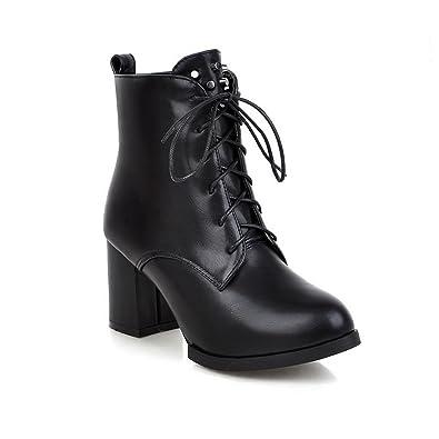 Womens Bandage Lace Platform Chunky Heels White Imitated Leather Boots - 5.5 B(M) US