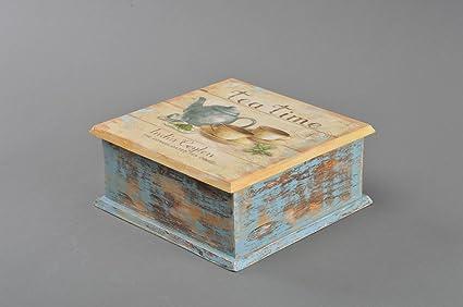 Caja de madera para te bonita hecha a mano en tecnica de decoupage