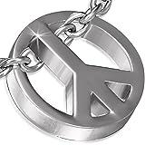 Zense - Pendentif homme en acier inoxydable argenté représentant le symbole de la paix ZP0163