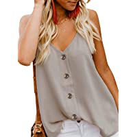 0d18ffbd5da BLENCOT Women s Button Down V Neck Strappy Tank Tops Loose Casual Sleeveless  Shirts Blouses