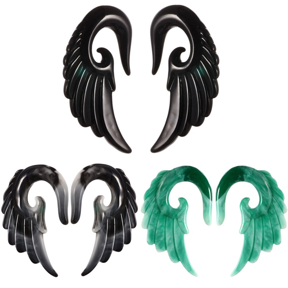 CrazyPiercing 6 pcs Mixed Colors Acrylic Angel Wings Spiral Taper Plug Gauge Ear Stretching Kit 2g-00g GYJ-6PWingTaper10mm