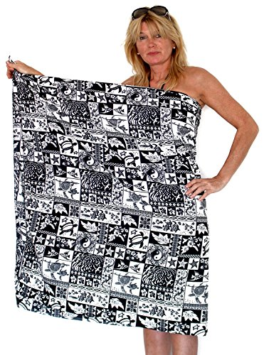 V.H.O. Funky Hawaiian Sarong Pareo Cover-Up For Women One-Size Puzzle Black