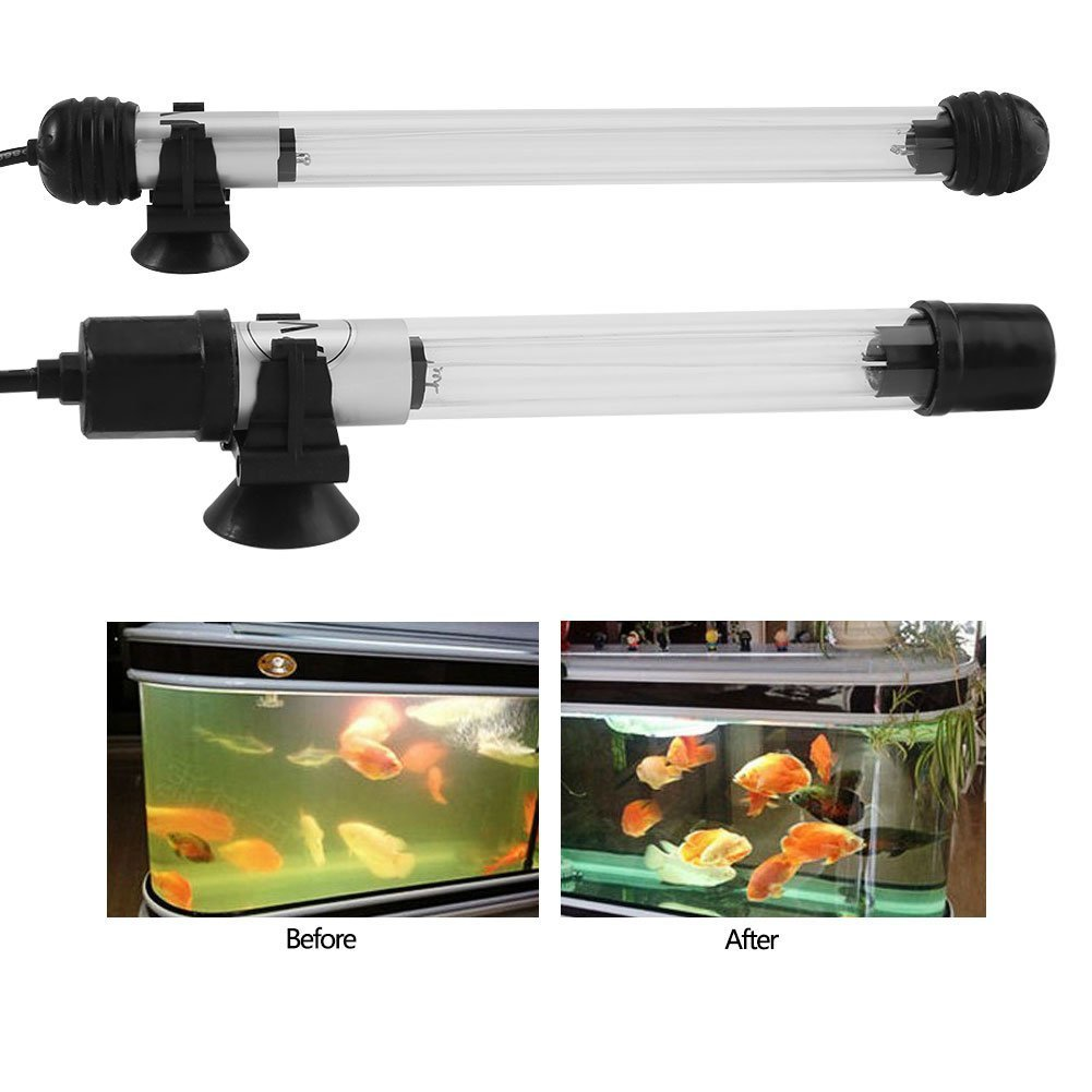 Lampe UV submersible pour la stérilisation de l'eau des aquariums, prise d'alimentation électrique type USA, lampe en verre 7W Yosoo