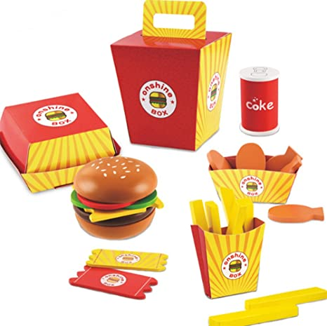 amazon com d o t toy wooden fast food burger fries deluxe dinner