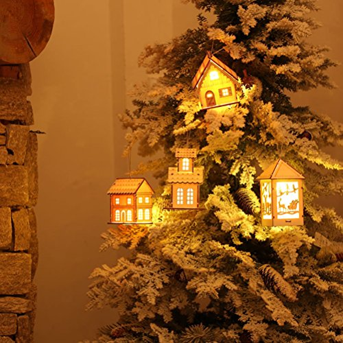TINKSKY Christmas Lighted House Wooden Christmas Ornament Hanging Christmas Decoration