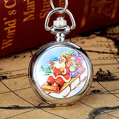 Rcdxing Orologio da taschino di Natale Regalo di Natale per orologio da tasca con collana a catena vintage