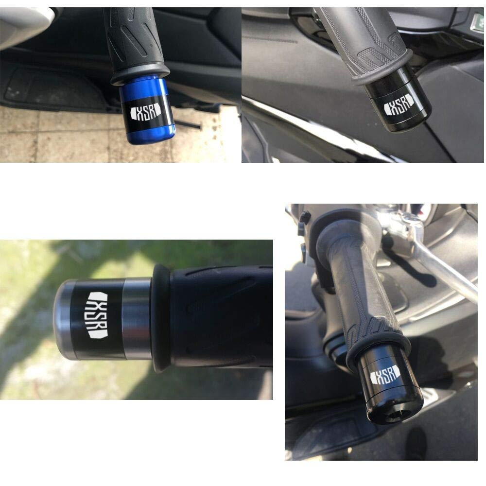 2Pcs Universale 7//822mm Moto Manubrio Gear Balanced Plug Slider Manubrio Estremit/à Grips Cap Alluminio per XSR700 XSR900 2016-Blu