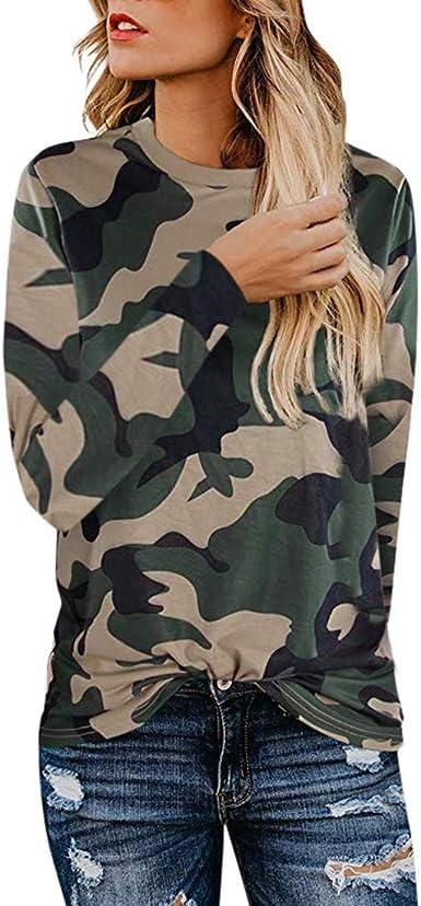 OPAKY Camiseta Basica Mujer Casual Sudadera Manga Larga ...