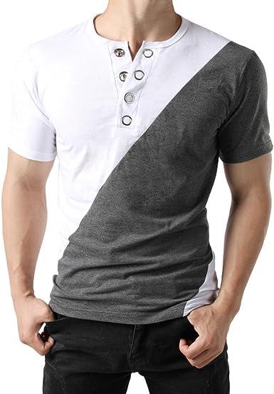 VPASS Camiseta para Hombre, Verano Manga Corta Patchwork Moda Diario Slim Fit Casual T-Shirt Blusas Camisas Camiseta Jaspeada de Cuello Redondo para Hombre Suave básica Camiseta: Amazon.es: Ropa y accesorios
