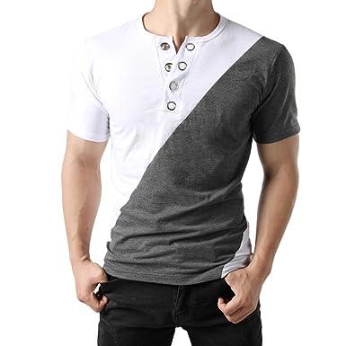 15335c0b5cba3 Weant T Shirt da Uomo Manica Corta Bianca Polo Abbigliamento Uomo Slim Fit Tee  Basic Pulsante Taglie Forti Casual Cotone Retro Camicetta Sportivo Top ...