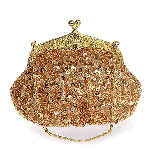 Fully Beaded Purse - Women Evening Clutches Fully Sequined Mesh Beaded Antique Style Wedding Formal Cocktail Clutch Purse (Yellow)