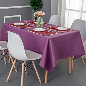 Waterproof Rectangular Table Tablecloths,Solid Color Polyester Table Cloth Spill-Proof Table Cover for Wedding Party Restaurant Buffet-Purple 140x160cm(55x63inch)