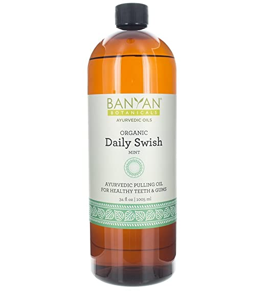 Banyan Botanicals Daily Swish, Mint, USDA Organic, 34 oz, Ayurvedic Oil Pulling Oil For Oral Health and Detoxification