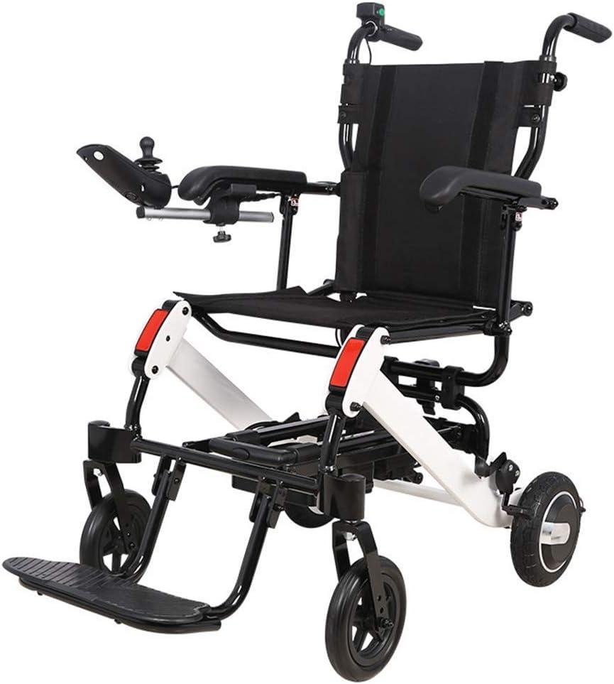 YXB Nueva Silla de Ruedas eléctrica Plegable Ligera motorizada, luz Inteligente Plegable en el avión Silla de Ruedas para Personas Mayores discapacitadas de aleación de Aluminio