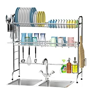 Over The Sink Dish Drying Rack, Ace Teah 2 Tier Dish Rack, Stainless Steel Dish Drainer
