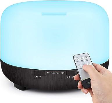 Image of TENSWALL 500ml difusor de aceite esencial control remoto, difusor de aroma frío humidificador ultrasónico con modo de niebla ajustable, sin BPA, ajuste de temporizador y apagado automático sin agua para yoga, oficina, dormitorio