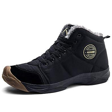 34c51621299 AZOOKEN Homme Femme Chaussures Trekking Randonnée Bottes de Neige Hiver  Imperméable Outdoor Boots Fourrure Cuir Imperméable