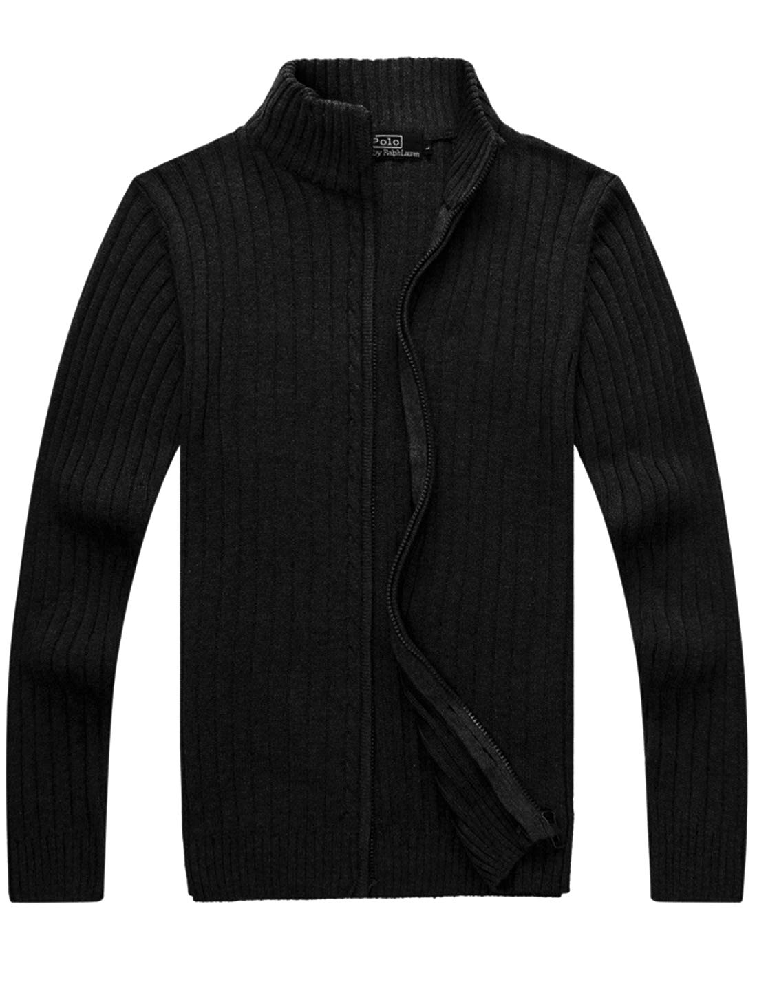 Yeokou Men's Casual Autumn Stand Collar Full Zip Up Knitted Cardigan Sweater (Medium, Black)
