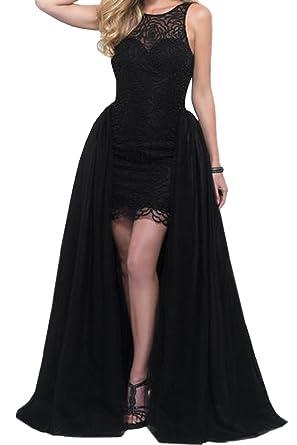 Honey Qiao Hilo Detachable Evening Dresses Long Lace Black Prom Party Gowns