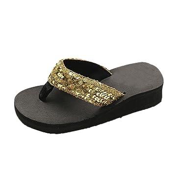 Flip-flops Damen Cooljun Frauen Summer Sequins Anti-Slip Sandals Slipper Indoor  Outdoor Flip-flops Mund Berufssandale...