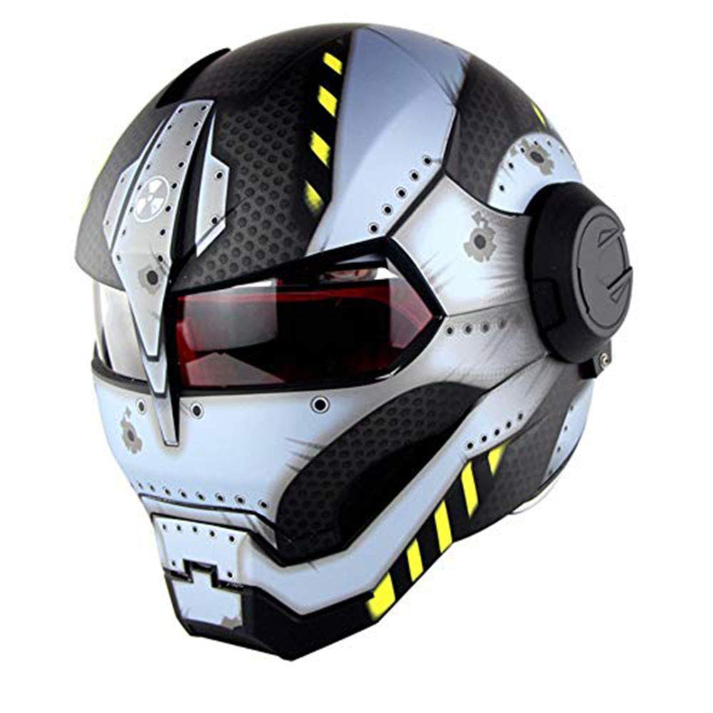 Casco Moto Retro Iron Man 4 in 1 DOKJ Casco Motocross Go-Kart ATV Adulto DOT Approvato Casco Flip per Fuoristrada,A,M