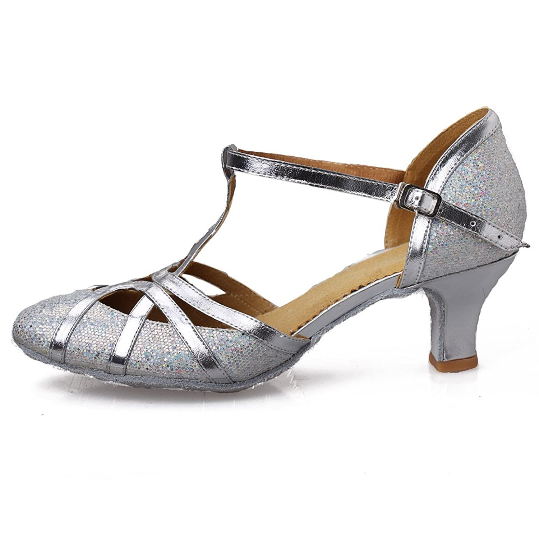 HROYL Zapatos de baile Zapatos latinos de satín mujeres EC F
