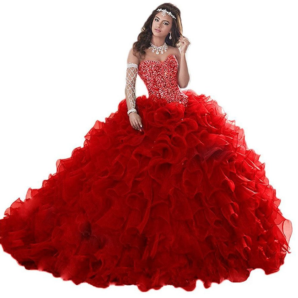 Red Beautydress Gorgeous Heavily Beaded Long Quinceanera Dresses For Sweet 16 Ball Gown