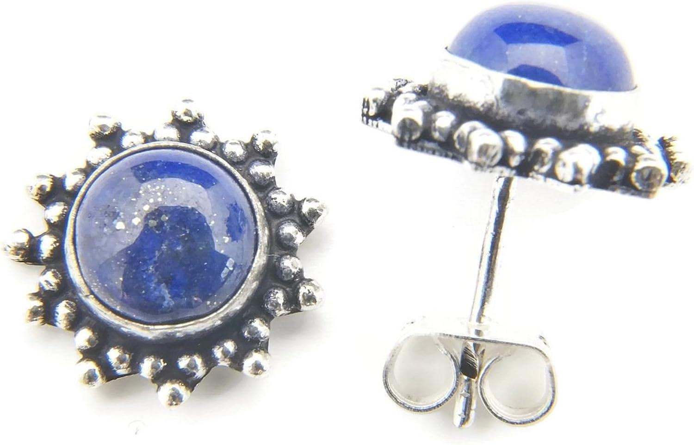 Pendientes de plateada con lapislázuli 13 mm x 13 mm (02)