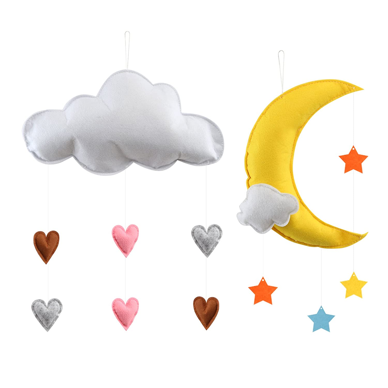 Kesoto Set di Nuvola da Apprendere per Cameretta dei Bambini Nuvola, Luna e Stelle Colorate Decorazione per Soffitto Regalo per Bambini