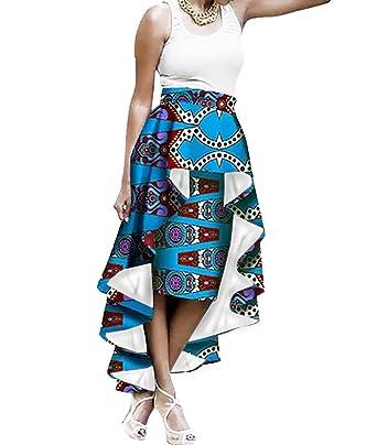 d6a0c5adbdc Amazon.com  Liyuandian Womens African Print High Waisted Skirts Dashiki High  Low Asymmetrical Long Maxi Skirt  Clothing