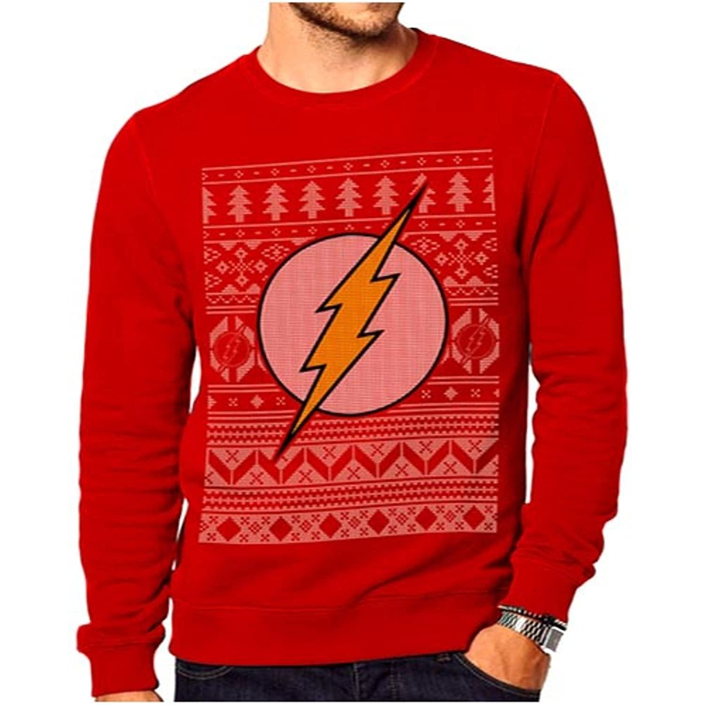 Official the Flash Logo Fair Isle Red Christmas Jumper Sweatshirt ...