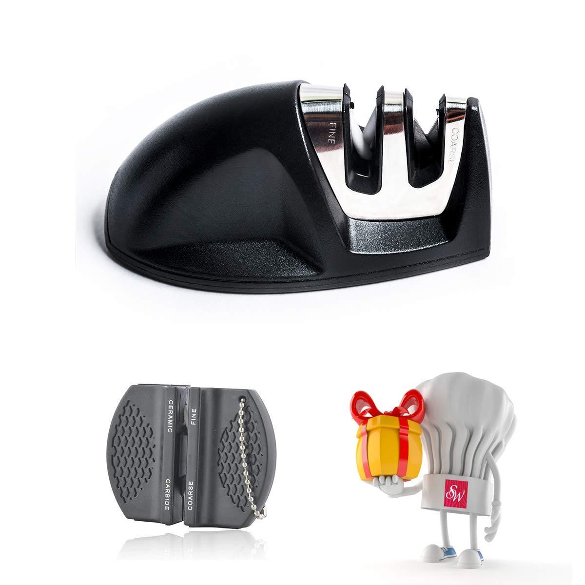 LPVLUX - 普通包丁やのこぎり刃包丁のための高品質包丁研ぎ器, 包丁研ぎ器, 包丁研ぎ (ブラック)