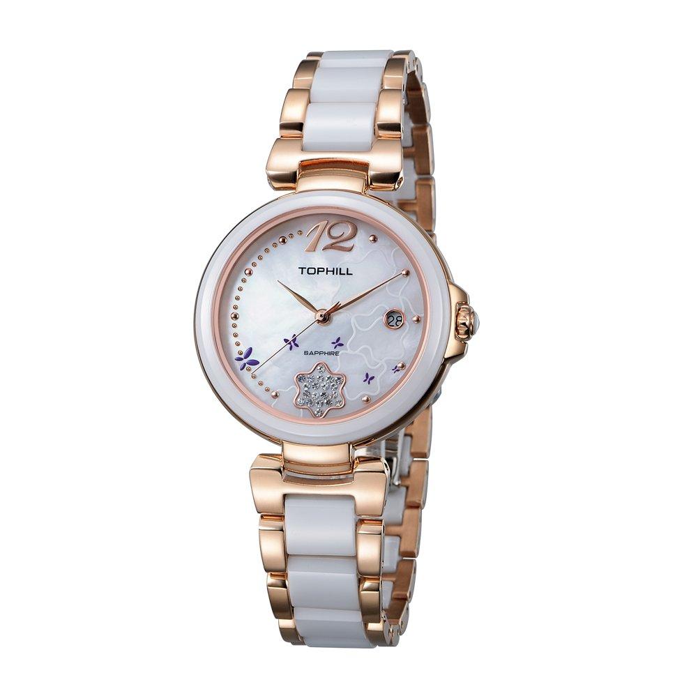 Tophill Women's Sf205 Dress Ceramic Quartz Watch Rose Gold 2-Tone Stainless Steel Case