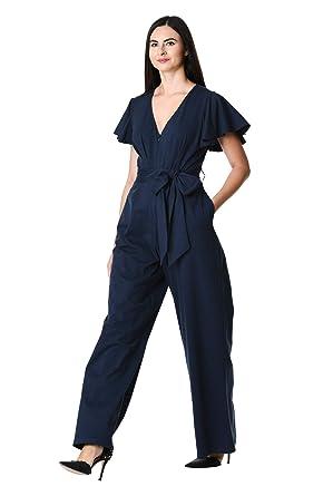 f3675615758f eShakti Women s Flutter sleeve cotton knit jumpsuit UK Size 04   Regular  height Deep navy