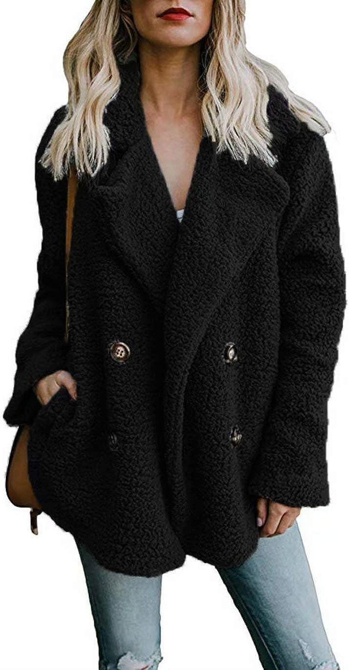WearFun Long Sleeve Fluffy Fleece Jacket Fur Coat Oversized Open Front Cardigan Outwear with Pockets