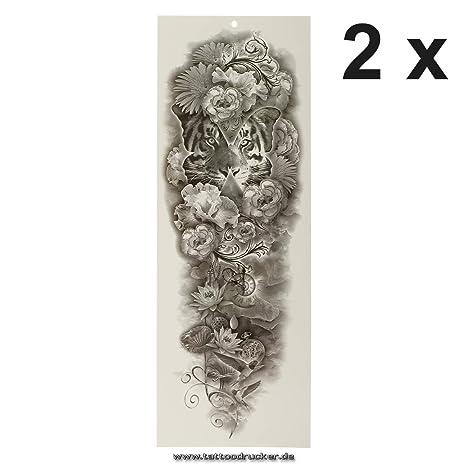 Tatuaje de brazo XXL – Tiger pájaros flores reloj mariposa – brazo ...