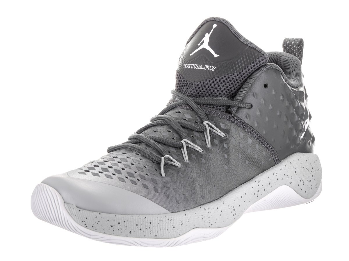 Jordan Nike Men's Extra Fly Dark Grey/White/Wolf Grey Basketball Shoe 12 Men US
