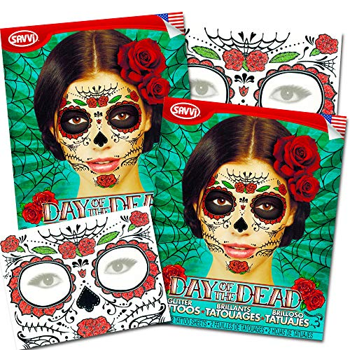 Day Of Dead Halloween Mask (Glitter Red Roses Day of the Dead Sugar Skull Temporary Face Tattoo Kit - Pack of 2)