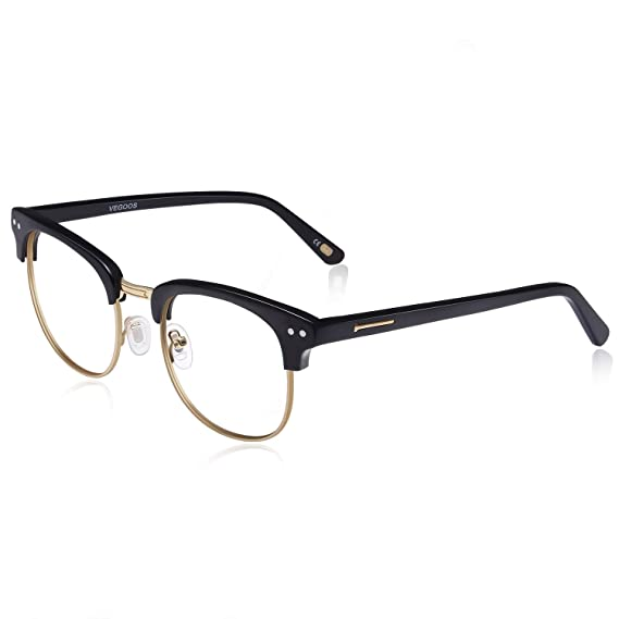 eed088de969 VEGOOS Classic Unisex Blue Light Blocking Glasses Horn Rimmed Vintage  Computer Glasses for Filter UV and Glare (Gold)  Amazon.co.uk  Clothing
