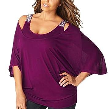 blusa fiesta mujer tallas grandes, Sannysis camisetas manga larga Lentejuelas decoración mujer blusas sexys mujer