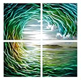 MWA44 Tidal Wave 2 - 32'' X 32'' Hawaii Island Paradise Ocean Surfing Tide Modern Aluminum Wall Art Painting Abstract Sculpture Artwork Decor