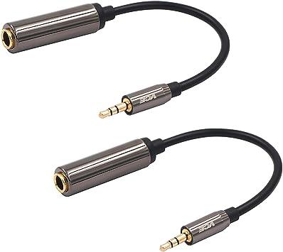 2 unidades Paquete de 2 cables de adaptador de audio AUX de 2,5 mm macho a 3,5 mm hembra para auriculares