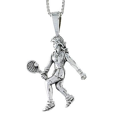 Amazon.com: Sterling Silver Woman Tennis Player Pendant, 1 1 ...