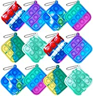 Howstart 12 Pcs Mini Push pop Bubble Fidget Toy, Simple Fidget Toy, Keychain Bubble Pop Desk Toy, Decompressio