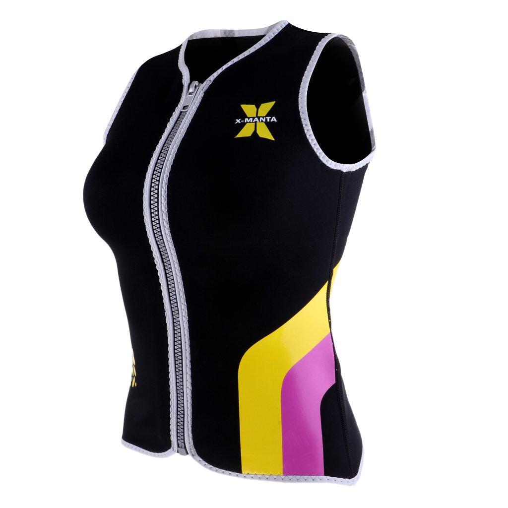 Prettyia Women's Wetsuits Vest Premium Neoprene 3mm Sleeveless Front Zipper Jacket Top for Scuba Diving Surfing Swim Snorkel Suit - Black, L by Prettyia