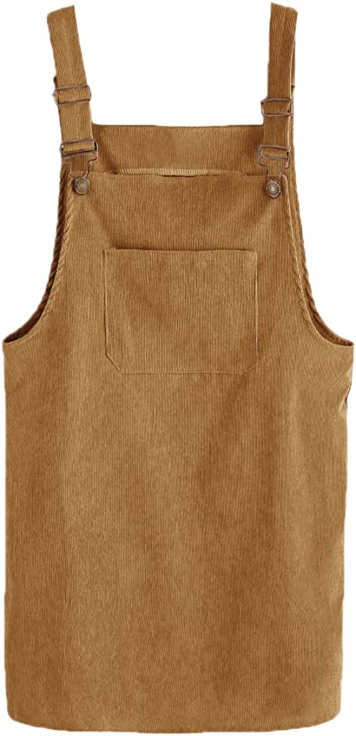 MAKEMECHIC Womens Adjustable Straps Mini Corduroy Overall Dresses with Pocket