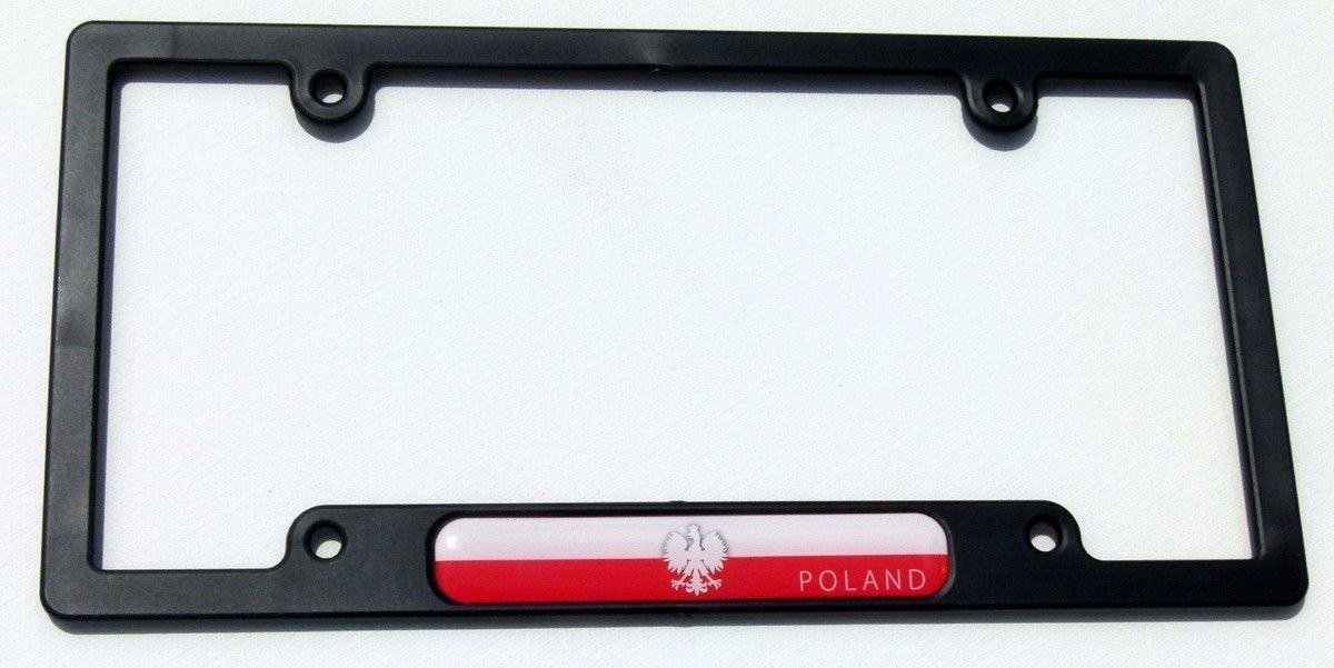 Poland Polska Flag Black Plastic Car License plate frame dome decal Polish eagle Car Chrome Decals