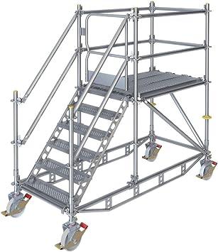 Escalera de plataforma móvil Ringscaff para 1 m de diferencia de altura con puerta de seguridad: Amazon.es: Bricolaje y herramientas