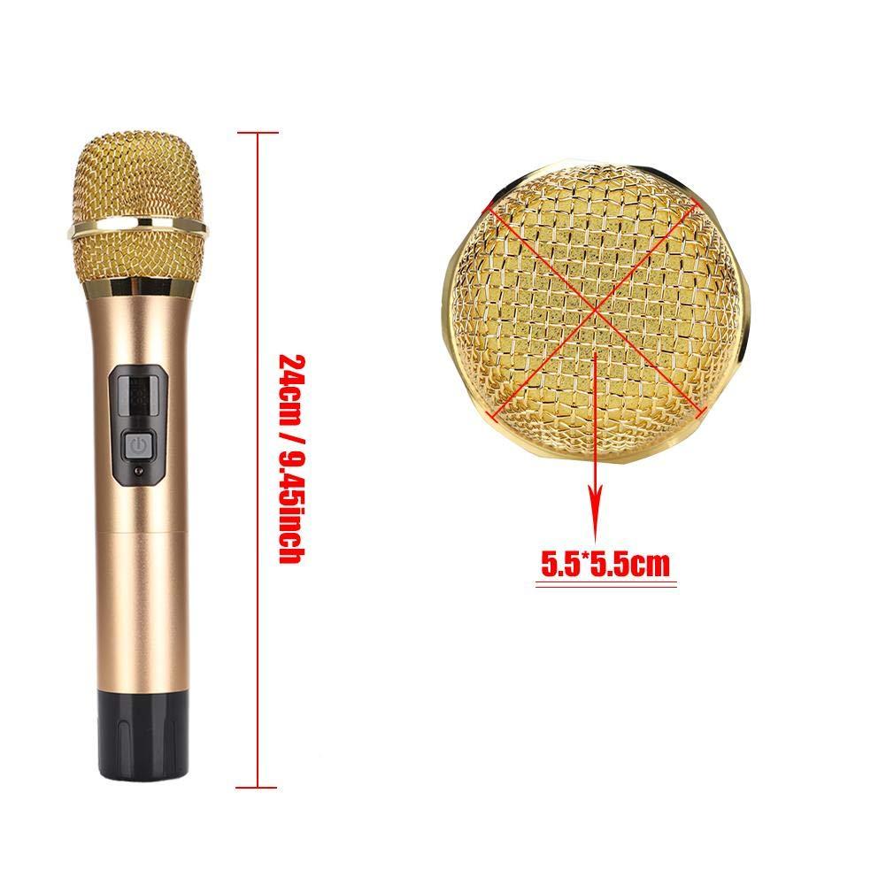 Denash UHF-Funkmikrofon Dual-Mikrofone mit Mini-Bluetooth-Empf/änger Gold Schwarz//Gold optional 10 bis 12 Stunden Arbeitszeit